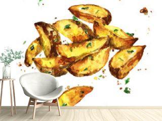 Potato wedges. Watercolor Illustration.