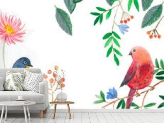 акварельная иллюстрация, птицы сидят на ветке дерева с цветами