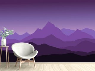 panoramic view of the mountain landscape with fog in the valley below with the alpenglow purple sky and rising sun - vector