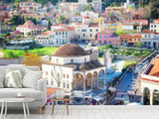 Cityscape of Athenth with Moanstiraki square and Acropolis hill, Athens Greece, retro toned