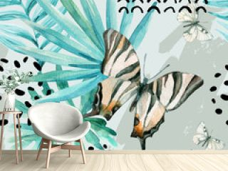 Watercolor graphical illustration: exotic butterfly, tropical leaves, doodle elements on grunge background.
