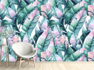 Watercolor banana leaf seamless pattern.