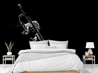 Trumpet player. Trumpeter playing jazz