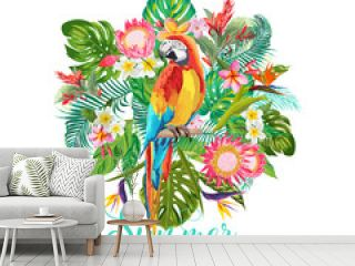 Tropical Flowers and Parrot Bird Background. Summer Design. Vector. T-shirt Fashion Graphic. Exotic.