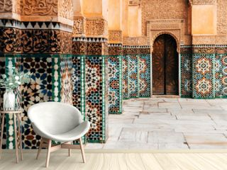 colorful ornamental tiles at moroccan courtyard