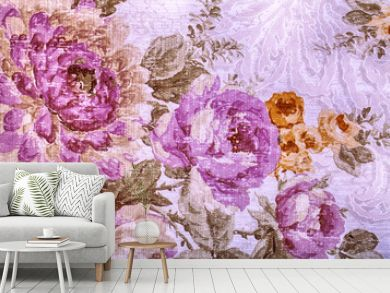 Vintage wallpaper with floral victorian pattern
