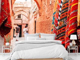 colorful street of marrakech medina, morocco