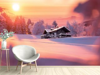 Paysage de montagne en hiver avec chalet isolé