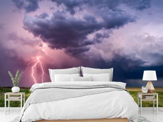 Lightning bolts from a thunderstorm