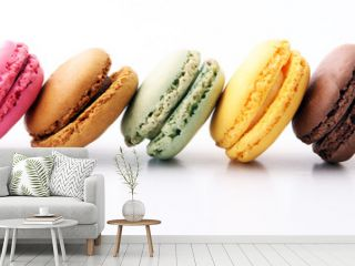 Sweet and colourful french macaroons or macaron on white background, Dessert