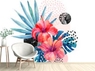 Watercolor tropical flowers on geometric background with marbling, doodle textures