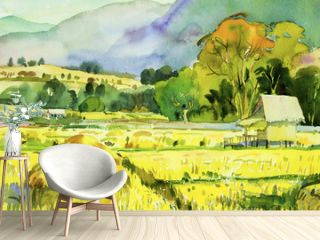 Painting village and rice field in the morning