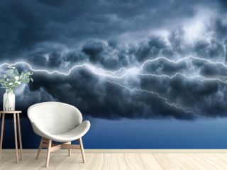Lightning in the landscape. Storm. Storm clouds, the rain