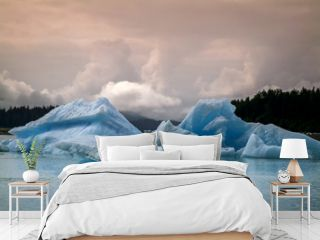 Icebergs from the Leconte Glacier. Colorful ice from the Leconte Glacier moves out to LeConte Bay on the inside passage in southeast Alaska near the city of Petersburg.