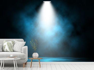 Blue spotlight smoke stage entertainment background.