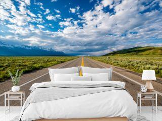 Empty open highway in Wyoming