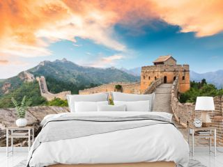 Great Wall of China at the jinshanling section,sunset landscape