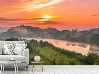 Colorful morning landscape in the morning, Poland, Tyniec near Krakow