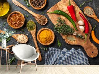 Cooking table with spices and herbs