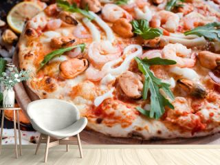 Seafood pizza. Delicious italian meal. Fast and tasty dinner concept
