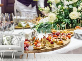 catering table with snacks