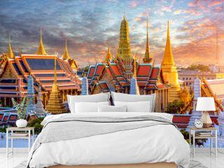Grand palace and Wat phra keaw at sunset at Bangkok, Thailand