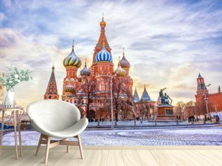Saint Basil's Cathedral in Red Square in winter at sunset, Moscow, Russia.