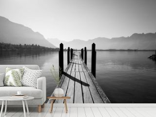 black and white wooden bridge