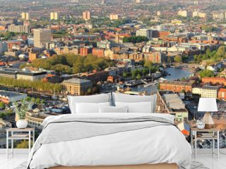 Above the city. Aerial view of streets and houses in Bristol, England.