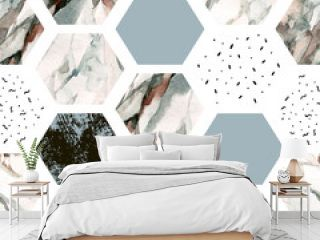 Watercolor hexagon with stripes, water color marble, grained, grunge, paper textures.