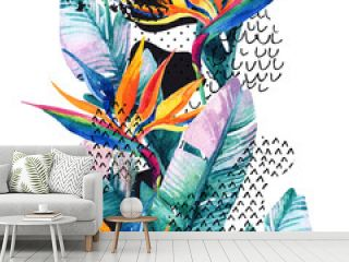 Exotic flowers, leaves, smooth bend shape filled with doodle, minimal, grunge texture. abstract background.