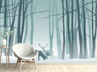 Vector misty winter landscape with silhouettes of trees and deer