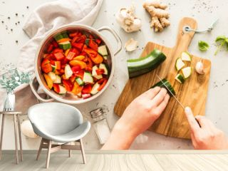 Cooking - chef's hands preparing vegetarian stew