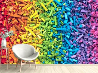 Lot of colorful rainbow toy bricks background