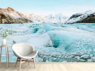 vatnajokull glacier frozen on winter season, iceland