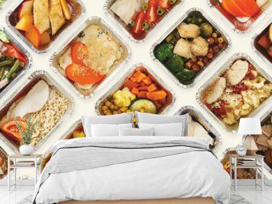 Set of take away food boxes at white background