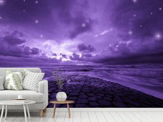Ultra violet fantasy background, road to the ocean with fantastic night sky, color of the year 2018