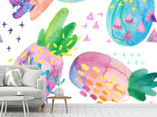 Funny colorful pineapples with watercolor texture and drawing elements