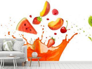 mixed fruit falling into juices splashing on white background