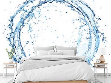 Water Splash In Circle - Round Shape On White
