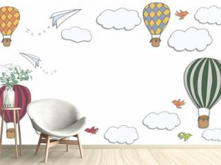 Vector banner with hot air baloons flying in the sky with place for your text, vector frame