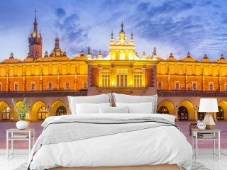 Panorama of Cloth Hall at Main Market Square in Cracow, Poland