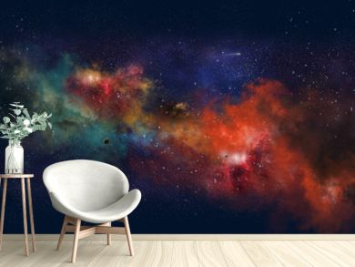 Space illustration with a color glow
