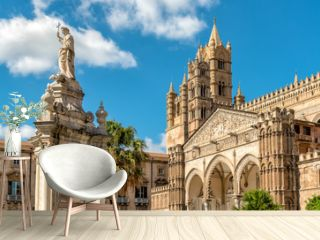 View of Palermo Cathedral with Santa Rosalia statue, Sicily, southern Italy