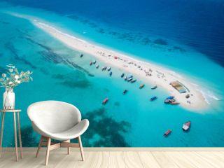 Aerial view of beautiful sand tropical island with white sand beach and tourists, Zanzibar