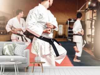 Martial arts fighters on workout in gym