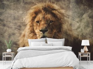 Majestic lion in a vintage portrait.
