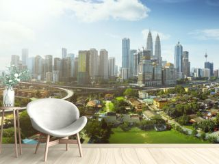 Panorama cityscape view in the middle of Kuala Lumpur city center ,day time , Malaysia .