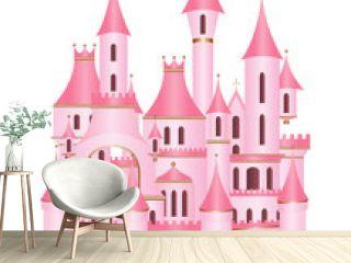 Pink princess castle vector