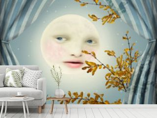 Fantasy image representing a full moon with a female face between two curtains